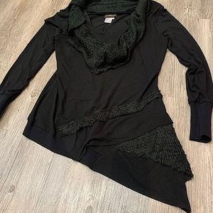 Fresh FX long asymmetrical sweater -attached scarf